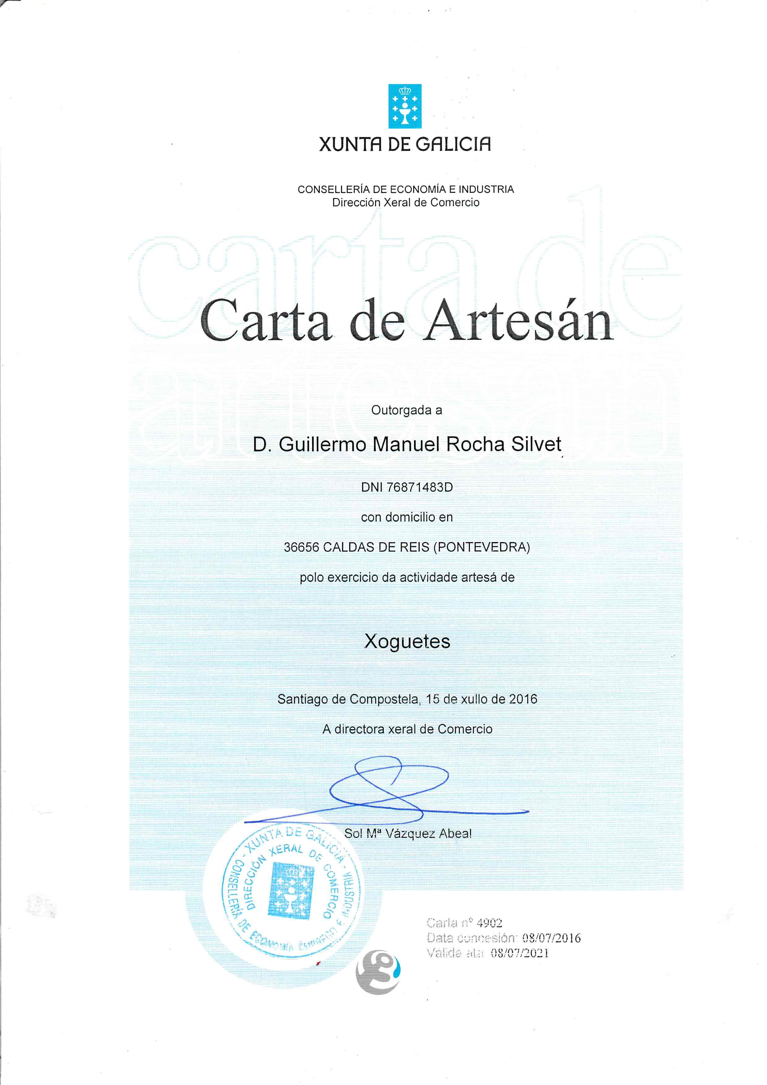 Carta De Artesano Y Premios De Artesanía De Galicia